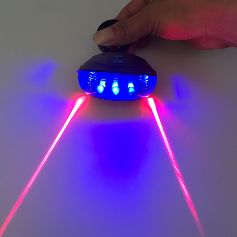 Bicycle Light Outdoor Waterproof Bike Cycling Lights  (5LED+2Laser) Taillight Safety Warning Rear Tail Lamp