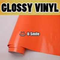 Oranje Glossy Vinyl Auto Wrapping Luchtbel Gratis Shiny Oranje Gloss Wrap Foile Auto Stickers Grootte: 1.52x30 m/Roll