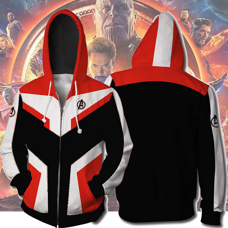 Avengers Endgame Cosplay Quantum Realm Costumes Sweatshirt Hoodie Jacket Captain Marvel Tech Hooded Superhero America Zipper