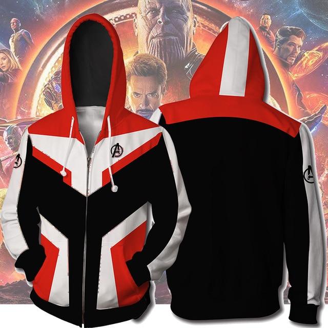 Vingadores Endgame Cosplay Reino Quântico Trajes Capitão América Marvel Superhero Tech Com Capuz Zipper Moletom Jaqueta Moletom Com Capuz