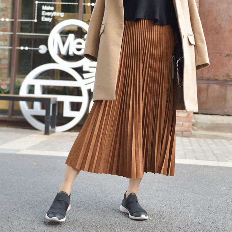 19 Two Layer Autumn Winter Women Suede Skirt Long Pleated Skirts Womens Saias Midi Faldas Vintage Women Midi Skirt 42