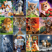 5D Diy Diamond Cross Stitch Animal Full Circle Diamond Embroidered Cat & Tiger Mosaic European Home Decor full diamond embroidered mosaic 5d diy diamond painting red cross stitch diamond embroidered butterfly home decor
