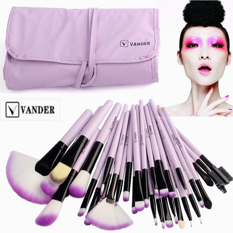 VANDER Pro 32 Pcs Makeup Brushes Bag Set Foundation Powder Eyeliner Pinceaux Maquillage Cosmetics Kits Brush Tools Purple free shipping 3 pp eyeliner liquid empty pipe pointed thin liquid eyeliner colour makeup tools lfrosted purple
