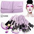 VANDER Pro 32 Unids Conjunto Bolsa de Polvo de la Fundación Brochas de Kits de Herramientas de Pincel Delineador de ojos Cosméticos Maquillage Pinceaux Púrpura
