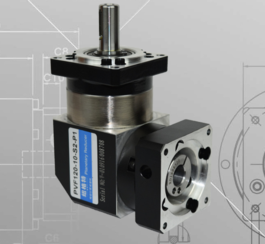 PVF120-10-S2-P2 130mm 90 degree right angle planetary gearbox reducer Ratio 10:1 for 130 AC servo motor 130 planetary gearbox reducer ratio 10 1 for 130mm ac servo motor shaft 22mm diameter