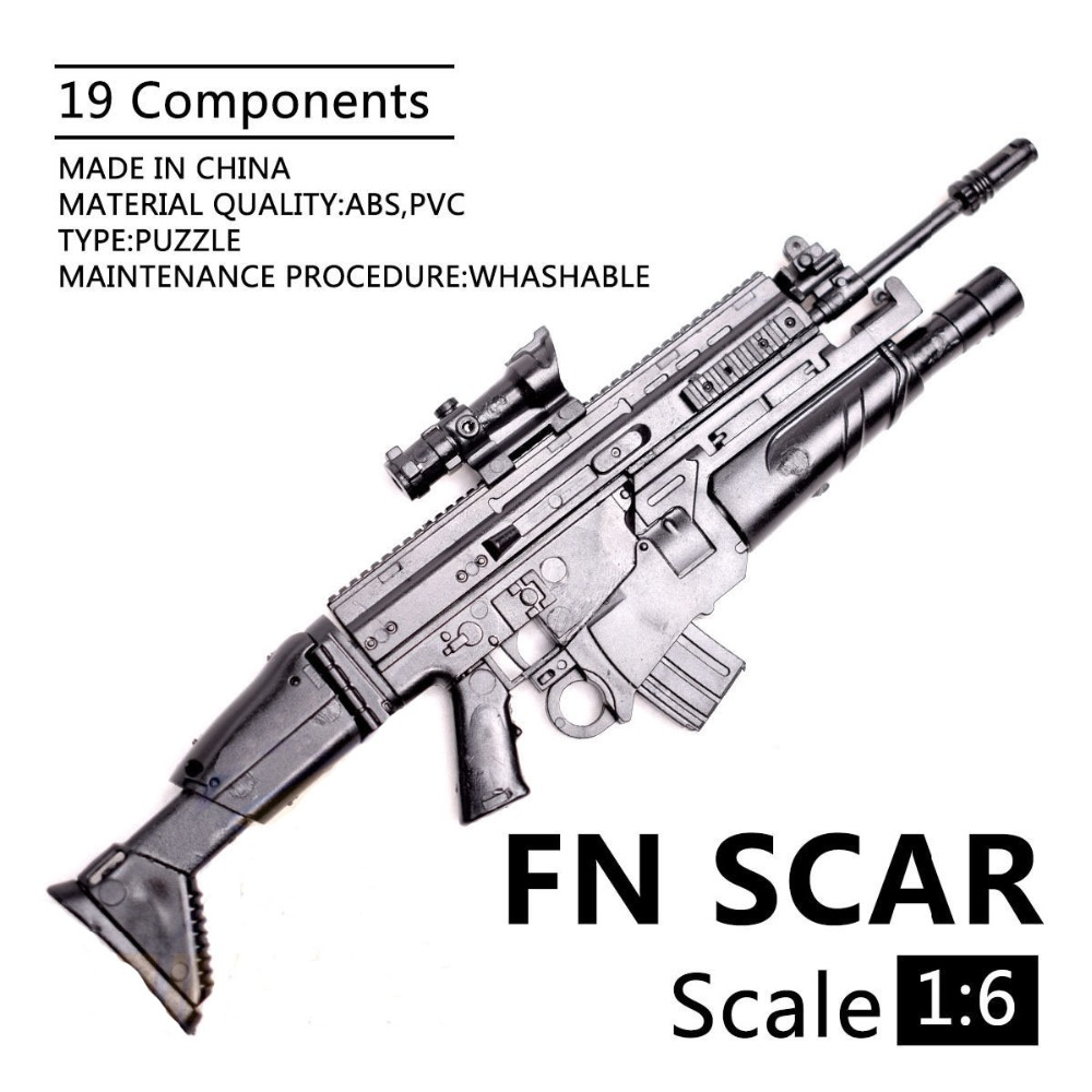 1/6 Scale FN SCAR SOF Combat Rifle Model Assembly Puzzles Building Bricks Gun Weapon Fit 12