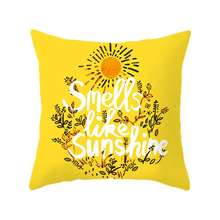 2019 1 Pcs Nordic Square Yellow Style Peach-skin Velvet Printed Pillow Cover With Zipper