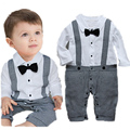 Summer Baby Boy Romper Kids Short Sleeve Bow Tie Lattice One-picec Clothing Newborn Jumpsuit Free Shipping