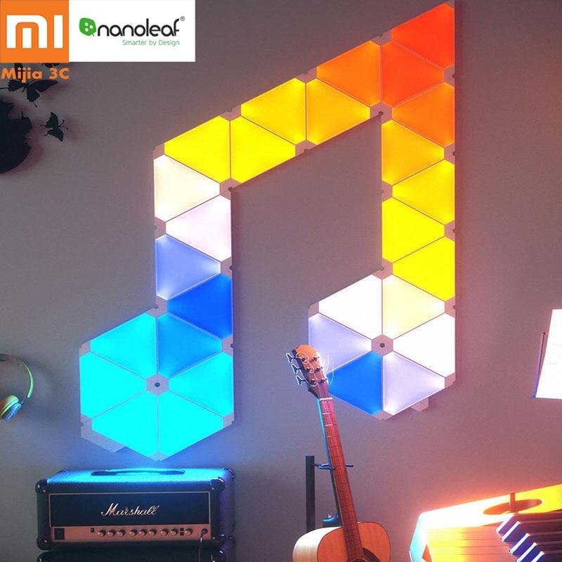 Original Xiaomi Nanoleaf Full Color Estranho Bordo Luz Trabalhar com Mijia Inteligente para Apple Homekit Google Casa Configuração Personalizada 4 pcs/caixa 1