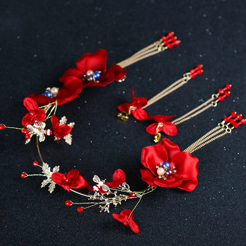 2018 Gold Hair Jewelry Pearl Rhinestone Headband Red Flower Hairbands Tassel Earring Sets Bridal Wedding Women Hair Accessories