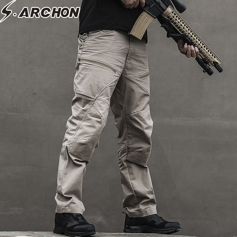 S.ARCHON Tactical Army Military Pants Man US Soldier SWAT Special Force Combat Trousers Men Waterproof Multi Pockets Cargo Pants mgeg militar tactical cargo pants men combat swat trainning ghillie pants multicam army rapid assault pants with knee pads