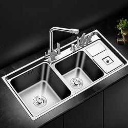 Gemüse Waschbecken Edelstahl Dicke Küche Waschbecken Doppel Schüssel Über Gegen oder Udermount Waschbecken schiff von Brasilien