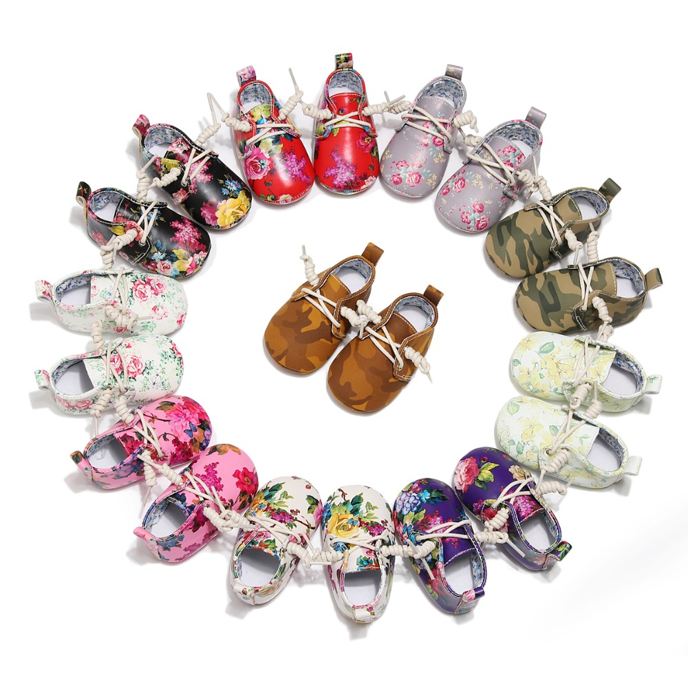 Baby Girls Boys Shoes Spring Autumn PU Leather Baby Moccasins Hard Sole Flower Shoes Infant Toddler First Walker For Baby 0-24M