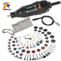 Tungfull Mini Drills 130W Drilling Machine Rotary Tool Accessory Set Power Tools Flex Shaft Engraver For