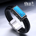 Beier genuíno couro pulseira estilos clássicos para homens e mulheres turquesa jóias requintadas bc-l008