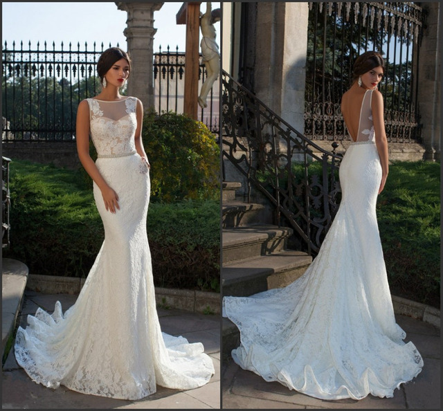 47163e990f Bride Fish Tail Wedding Dress Elegant Lace Mermaid Wedding Dresses Sexy  Backless Vestidos De Noiva 2019 New Bridal Gown ZY3000