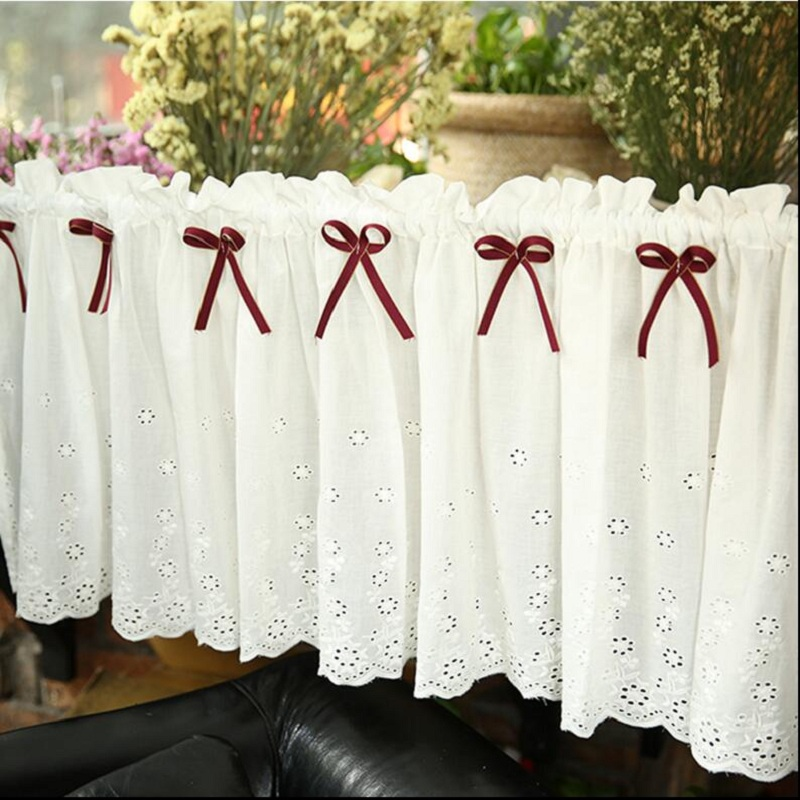 Coffee Short Curtain Rustic Cotton Small Kitchen Curtain