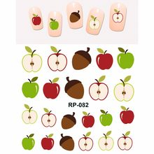 NAIL ART BEAUTY NAIL STICKER WATER DECAL SLIDER CARTOON MUSHROOM APPLE LEAF LION FOX OWL BIRD FLOWER RP079-084(China)