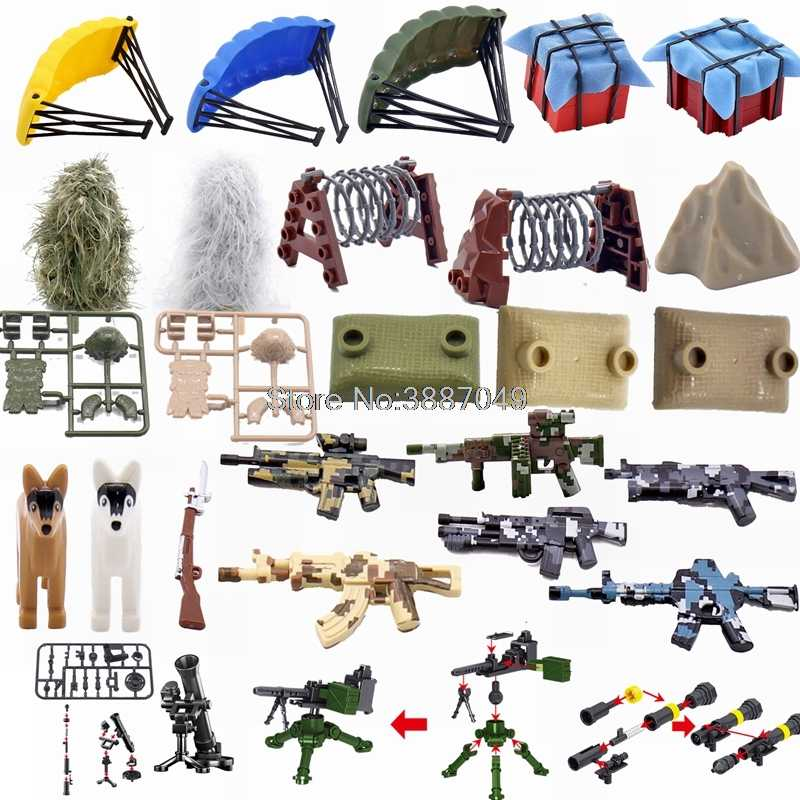 Legoing Military Guns Dog Parachute Sandbag Box Building Kits Toys For Children Military Legoing Parts Gift Toy