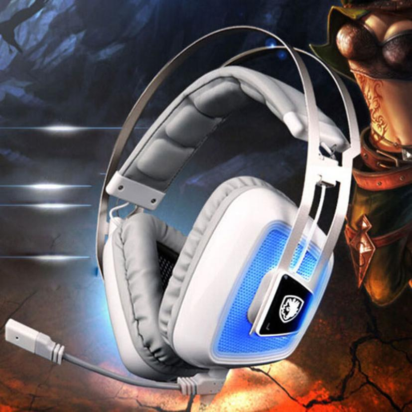 HL Sades A8 7.1 Sound Gaming Headset Headband Headphone With Mic For PC oct16 each g1100 shake e sports gaming mic led light headset headphone casque with 7 1 heavy bass surround sound for pc gamer