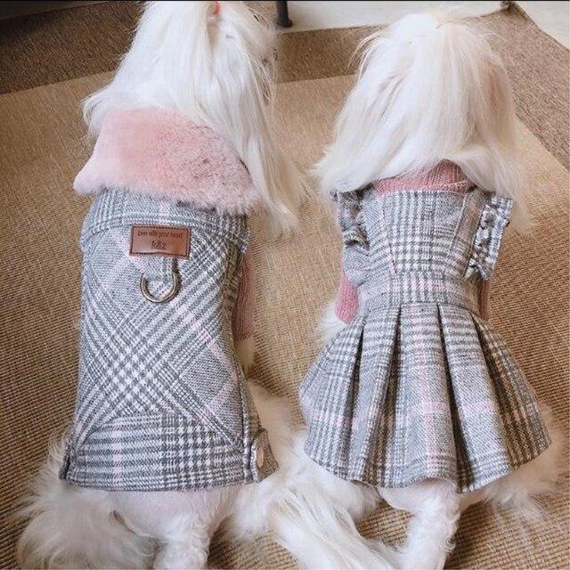 Di lusso di Inverno Del Cane Vestiti di Lana Con Collo di Pelliccia Cucciolo di