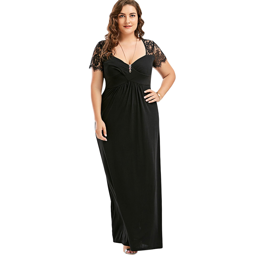7117f0687a9 Gamiss Sexy Hollow Out Plus Size Lace Dress Women High Waist Sleeveless  Backless Dress Elegant Christmas