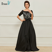 Dressv Black Long Mother Of The Bride Dress A Line Short Sleeves Lace Scoop Neck Custom