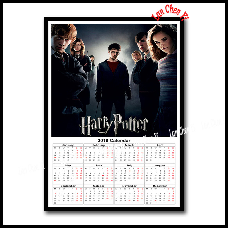 Harry Potter Coated Paper Poster 2019 Calendar Bar Counter Adornment Kitchen Wall Stickers Paper Poster 42x30cm In Wall Stickers From Home Garden On