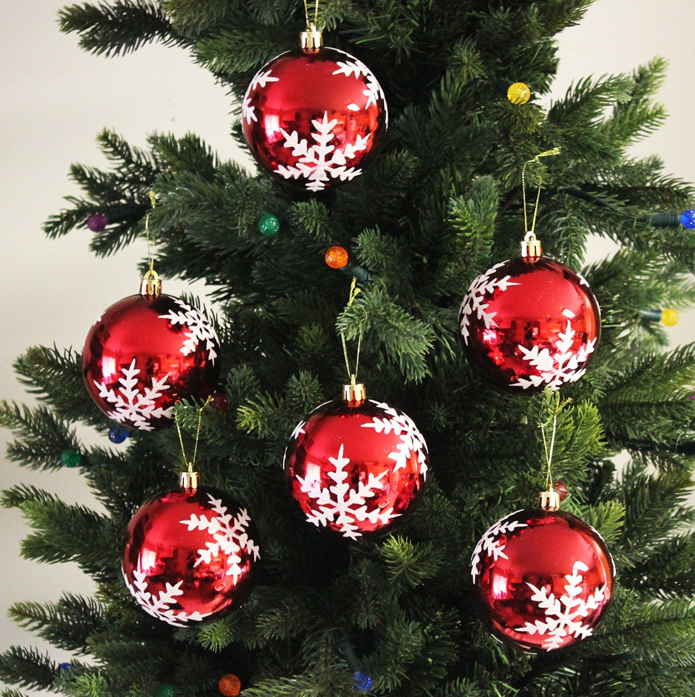 snowflake shatterproof 236 60mm christmas ball ornaments decorations set of 6 with storage - Christmas Decorations Wholesale