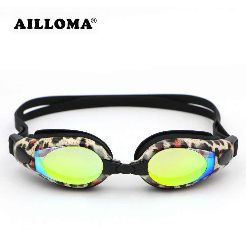 AILLOMA Vrouwen Professionele Zwembril Dioptrie Leopard Waterdicht Anti-fog UV 400 Water Sport Electroplated Swim Bril