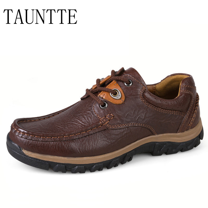 Tauntte Four Season Genuine Leather Casual Shoes Cow Leather Men Shoes Plus Size dhl free shipping plus brand classics men m65 cow leather jackets men s genuine leather biker jacket classics plus size