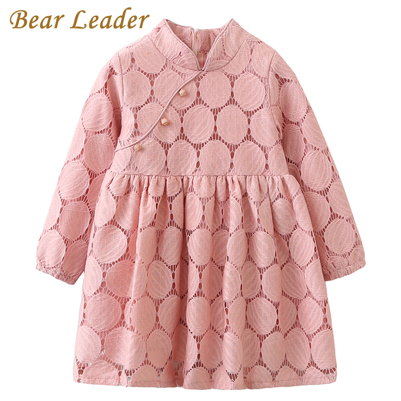 Bear Leader Girls Dress 2017 Autumn Brand Baby Girls Long Sleeve Lace Princess Dresses Kids Children Clothing For 3-7 Years acthink 2017 new girls formal solid lace dress shirt brand princess style long sleeve t shirts for girls children clothing mc029