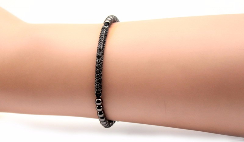 Top Fashion Cubic Zirconia Charm Men's Bracelets Famous Boys Micro Pave Trendy Braiding Strand Black Macrame Beads Bracelets. 8