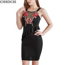 ФОТО chsdcsi women dress sexy backless basic dresses sleeveless slim applique tanks bodycon dress strap print party embroidery dress