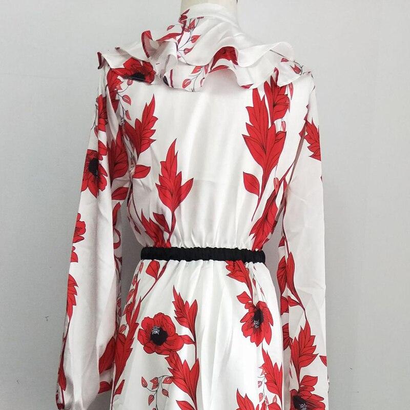 OXANT femmes imprimé longue robe Falbaled vacances robe avec des bretelles fendues niché sous la taille montre mince robe en mousseline de soie - 6