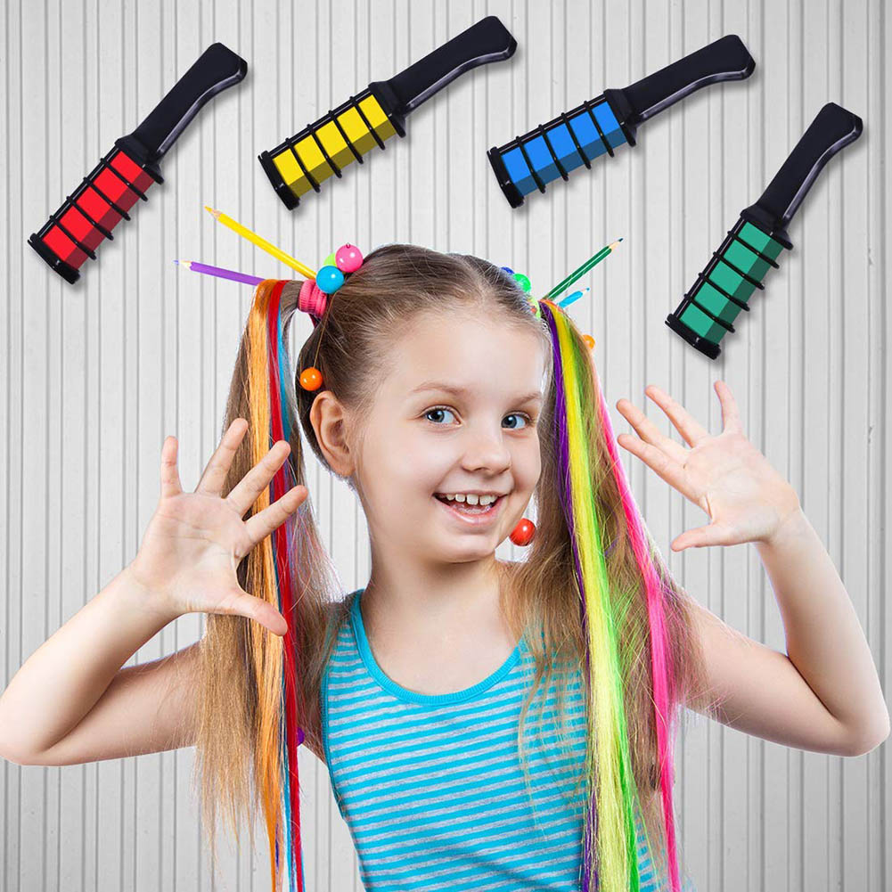 Купить с кэшбэком Temporary Hair Color Chalk Combs Kit 6 PCS Fashion Colorful Girls Party Cosplay Halloween Hair Salon Dyeing Combs