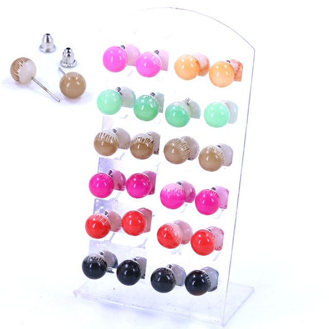 Free Shipping Earrings Resin Plastic Round Ball Color Plating Iron Stick Stud Las