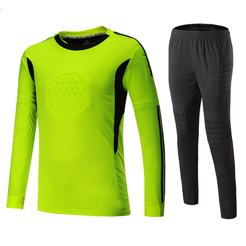 e907245c1 2018Soccer Goalkeeper Jerseys Sets Kids Men Sponge Football Goal Keeper  Tracksuit Uniforms Kits Goalie Training Tops Pants Suits-in Soccer Sets  from Sports ...