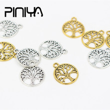 10Pcs/Lot European Antique Silver Colot Life Tree Sliver Gold Bead Metal Charms Accessories Vintage Jewelry Making