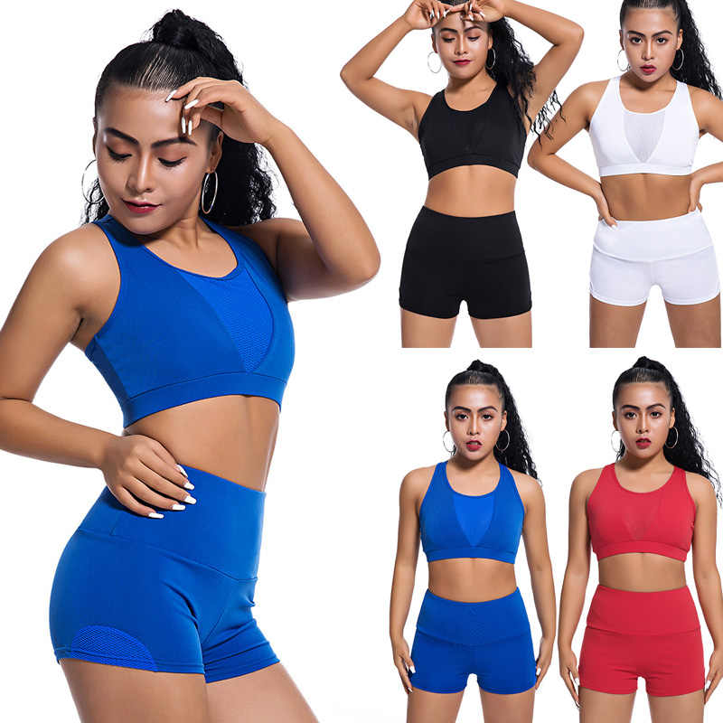 Newly Ladies Sportswear Set Solid Color Mesh Tops Quick Dry with Shorts for Sports BF88