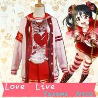 LoveLive! Любовь жить Ядзава Нико День Святого Валентина свитер пальто Верхняя одежда Топы корректирующие юбка равномерное наряд Костюмы для к