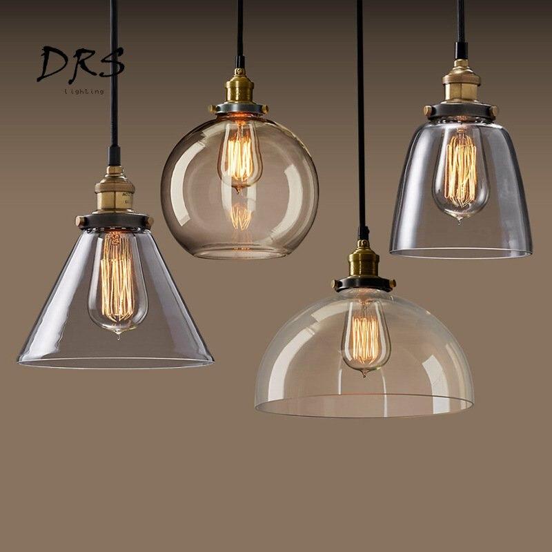 LED moderne E27 lampes suspendues en verre lampe Luminaire Vintage loft lampe suspendue abat-jour en verre lampe suspendue pour Bar Restaurant