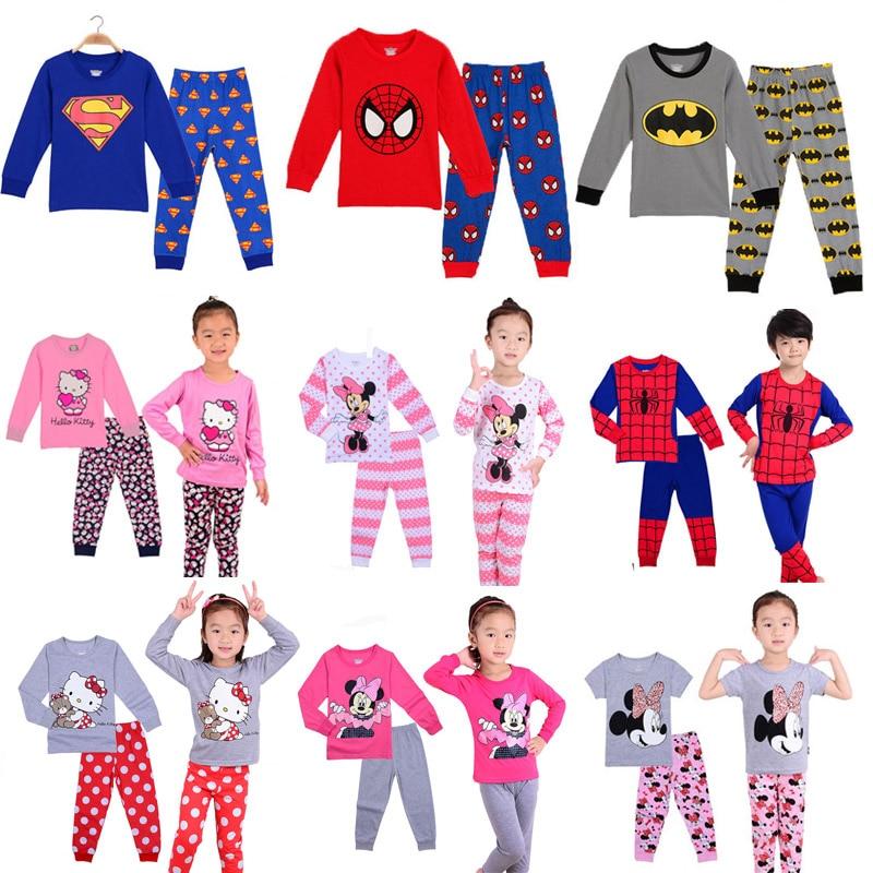 2019 Girl boy cotton   Pajamas     sets   cartoon Superman Spider-Man toddler sleepwear superhero pijamas baby Pyjamas suit kids clothes
