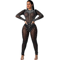 Pearls Beading Rhinestone Mesh Jumpsuit Women Sexy See through Long Sleeve One Piece Bodysuit Party Birthday Overalls Outfits