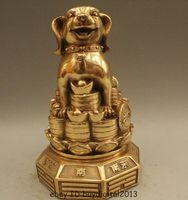 8 Chinese Fengshui Brass Zodiac Year Dog Coin Yuanbao Money Wealth Statue