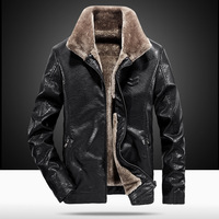 YuWaiJiaRen Winter Men's Fur Leather Jacket Casual Thick Warm Motorcycle Faux Leather Mens Artificial PU Leather Coat