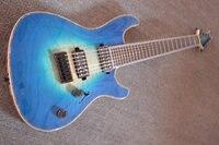 Custom guitar,7 string guitar Fireburst tiger stripes blue binding guitarra eletrica