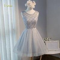 Элегантное loverxu с глубоким круглым декольте расшитые бисером кружево до Короткие бальные платья 2019 Chic пояса платье Vestido Выпускной Лидер про