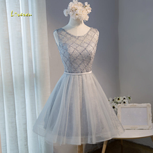 Loverxu Elegant Scoop Neck Beaded Lace Up Short Homecoming Dresses 2107 Chic Sashes Lace Dress Vestido Graduation Dress Hot Sale