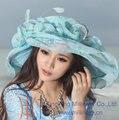 Envío de La Manera Vestido de Las Mujeres Sombrero de Verano Sombrero Para Las Mujeres Organza Sombrero de Ala Ancha Flor de La Colmena Del Organza de La Flor de Ala Ancha sombrero